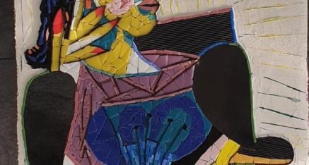 Le Picasso de Martine (verre vitrail, enduit, pigments)